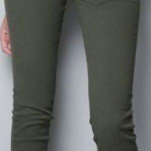 Zara Mid Rise Olive Skinny Jean